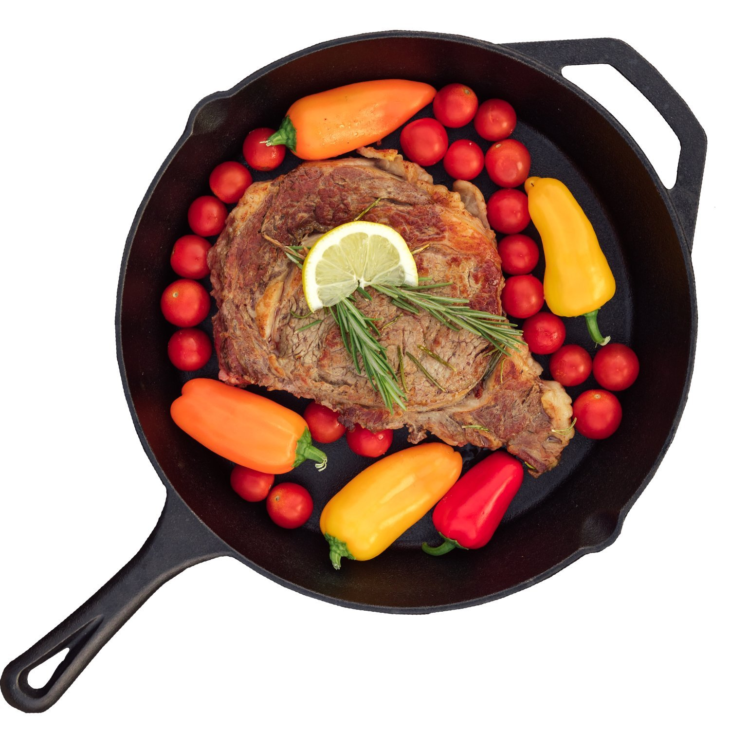 Rippl Cast Iron Skillet - 12-inch - Pre-Seasoned Grill Pan with Handle