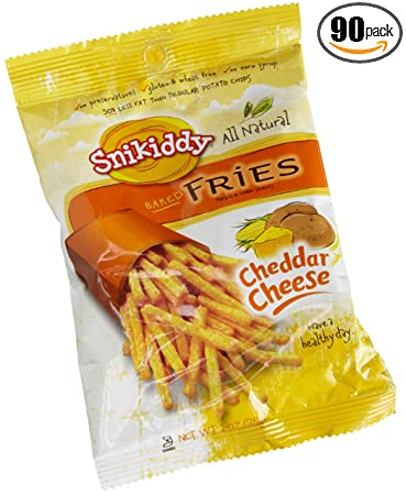 Snikiddy All Natural Baked Fries, Cheddar Cheese, 1-Ounce Bags (Pack of