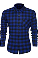 Coofandy Casual Plaid Long Sleeve Shirt Fashion T-shirts