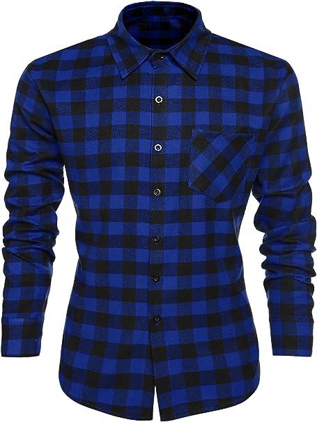 TALLA XXL. Coofandy Camisa Hombre Manga Larga a Cuadros Multicolores Botón Bolsillo Casual