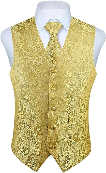 WHATLEES Herren Klassische Paisley Floral Jacquard Weste /& Krawatte und Einstecktuch Weste Anzug Set