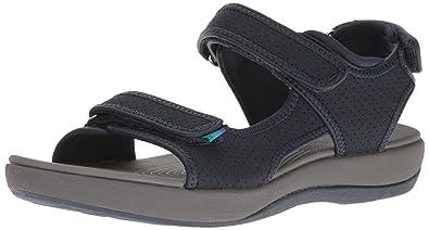 0934dffbfa1 CLARKS Women s Brizo Sammie Flat Sandal Navy Perforated Microfiber 6 B(M) US