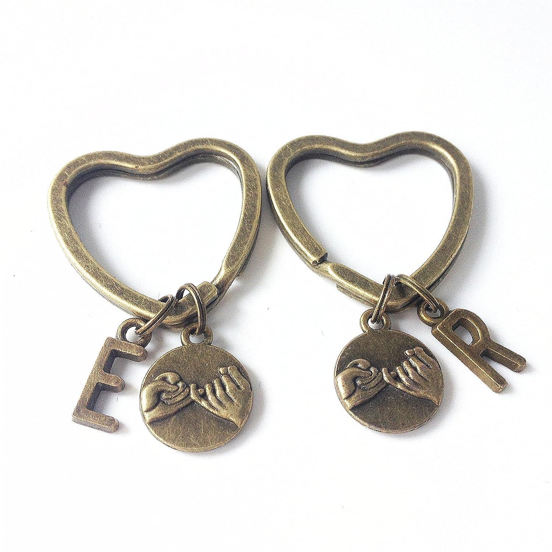best friend keychain,pinky promise keychain,personalized keyring,personalised keyring,couples keychain set,boyfriend girlfriend,husband wife