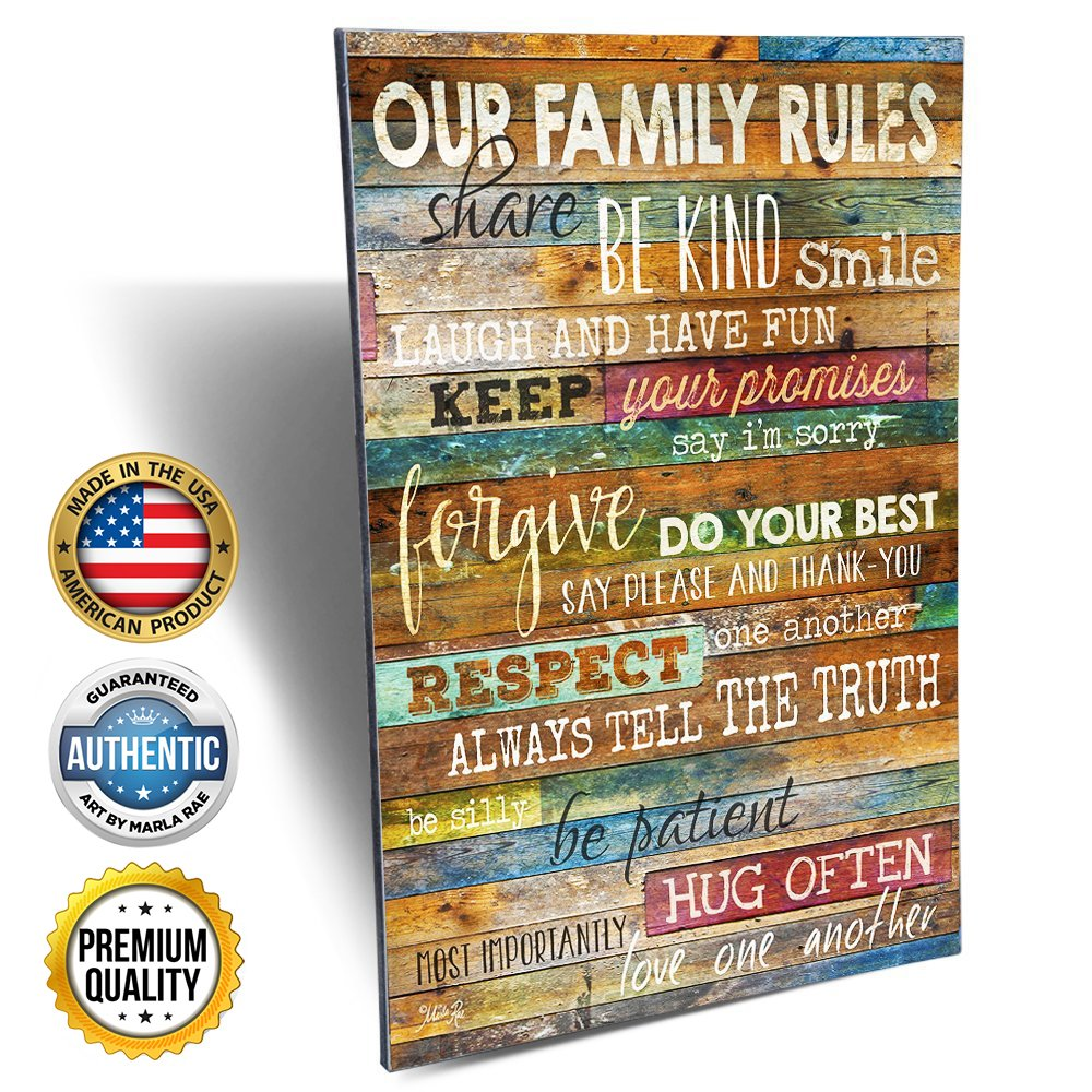 Marla Rae Country Wood Our Family Rules Wall Art Sign Decor