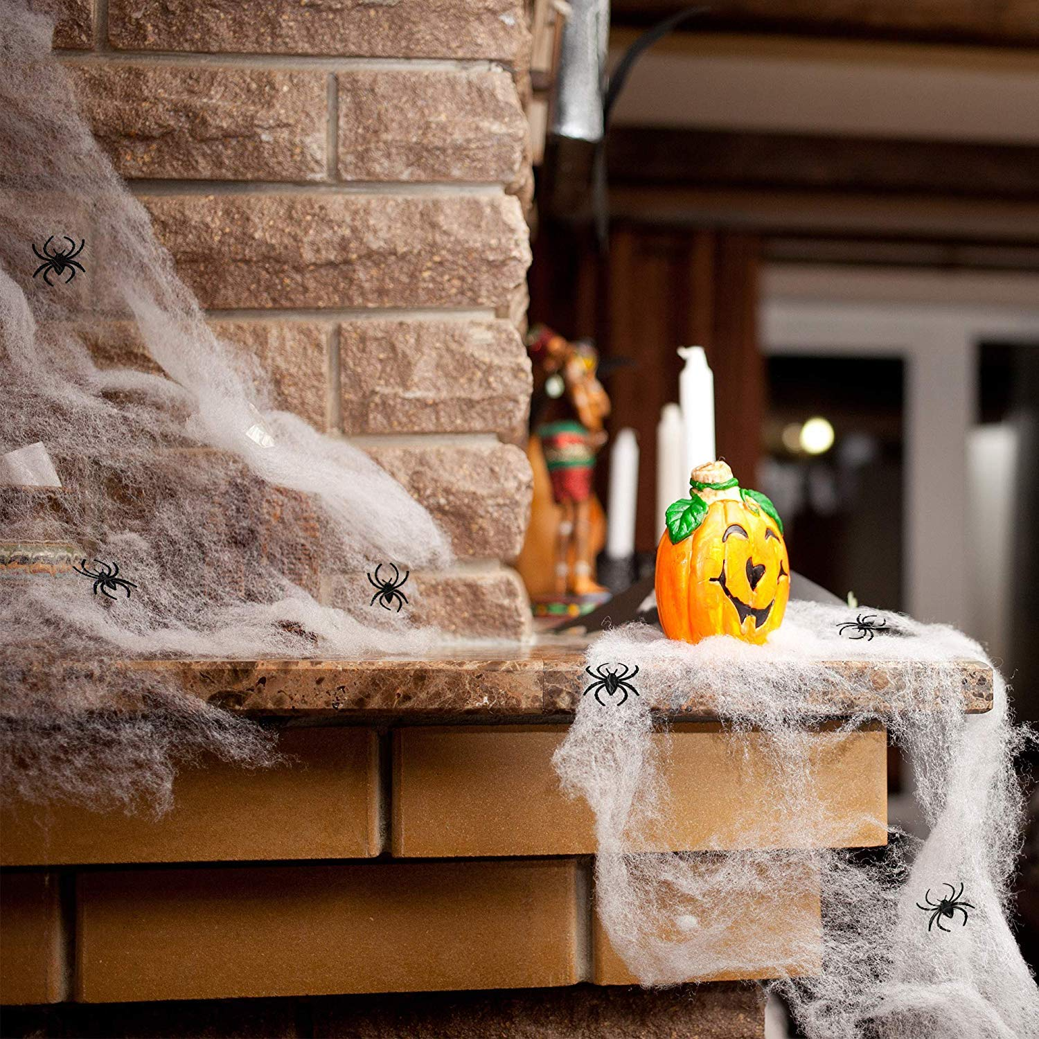 Halloween Decoration for Indoor and Outdoor, Sticky Bats/Spiders with Spider Web for Parties and Spooky Events …(Spider Web)
