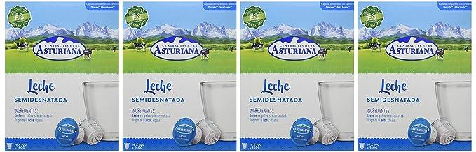 Central Lechera Asturiana Cápsulas de Leche Semidesnatada - 4 Paquetes de 16 Cápsulas - Total: 64 Cápsulas