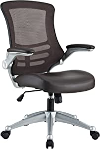 Modway Attainment Mesh Ergonomic Computer Desk Office Chair With Flip-Up Arms In Brown