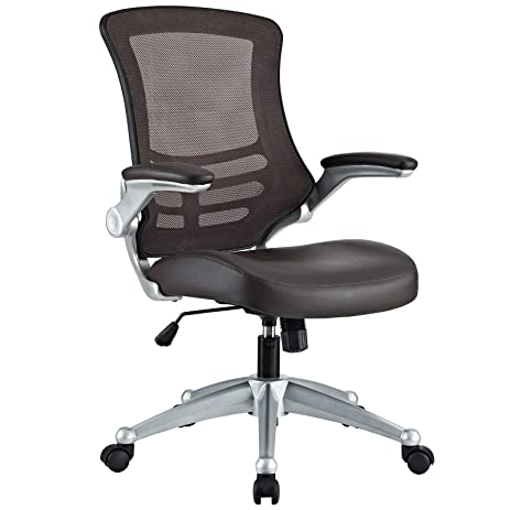 modway attainment mesh back and brown vinyl modern office chair with flipup arms