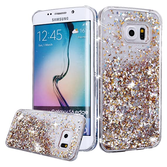 sports shoes 5e39c c431b Urberry Galaxy S7 Edge Case, Gold S7 Edge Glitter Liquid Cover, Flowing  Liquid Floating Luxury Bling Glitter Sparkle Hard Case for Samsung Galaxy  S7 ...