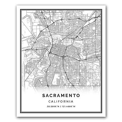 Sacramento map poster print modern black and white wall art scandinavian home decor