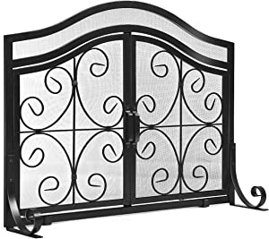 """Tangkula Fireplace Screen, with Hinged Two-Doors Large Flat Guard Screens, Wrought Iron Mesh, Steel Crest Fireplace Screen with Wrought Iron, Baby Safe Spark Guard Protector (44""""L x 15''W x 33. 5''H)"""