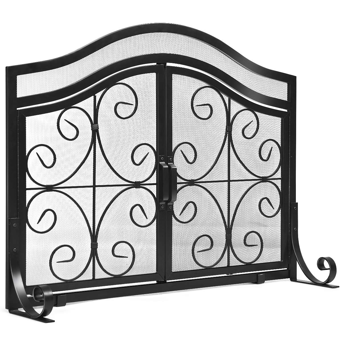 Tangkula Fireplace Screen, with Hinged Two-Doors Large Flat Guard Screens, Wrought Iron Mesh, Steel Crest Fireplace Screen with Wrought Iron, Baby Safe Spark Guard Protector (44''L x 15''W x 33. 5''H) by Tangkula