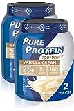 Natural Whey Protein Powder by Pure Protein, Gluten Free, Keto Friendly, Vanilla Cream, 1.75lbs, 2 Pack