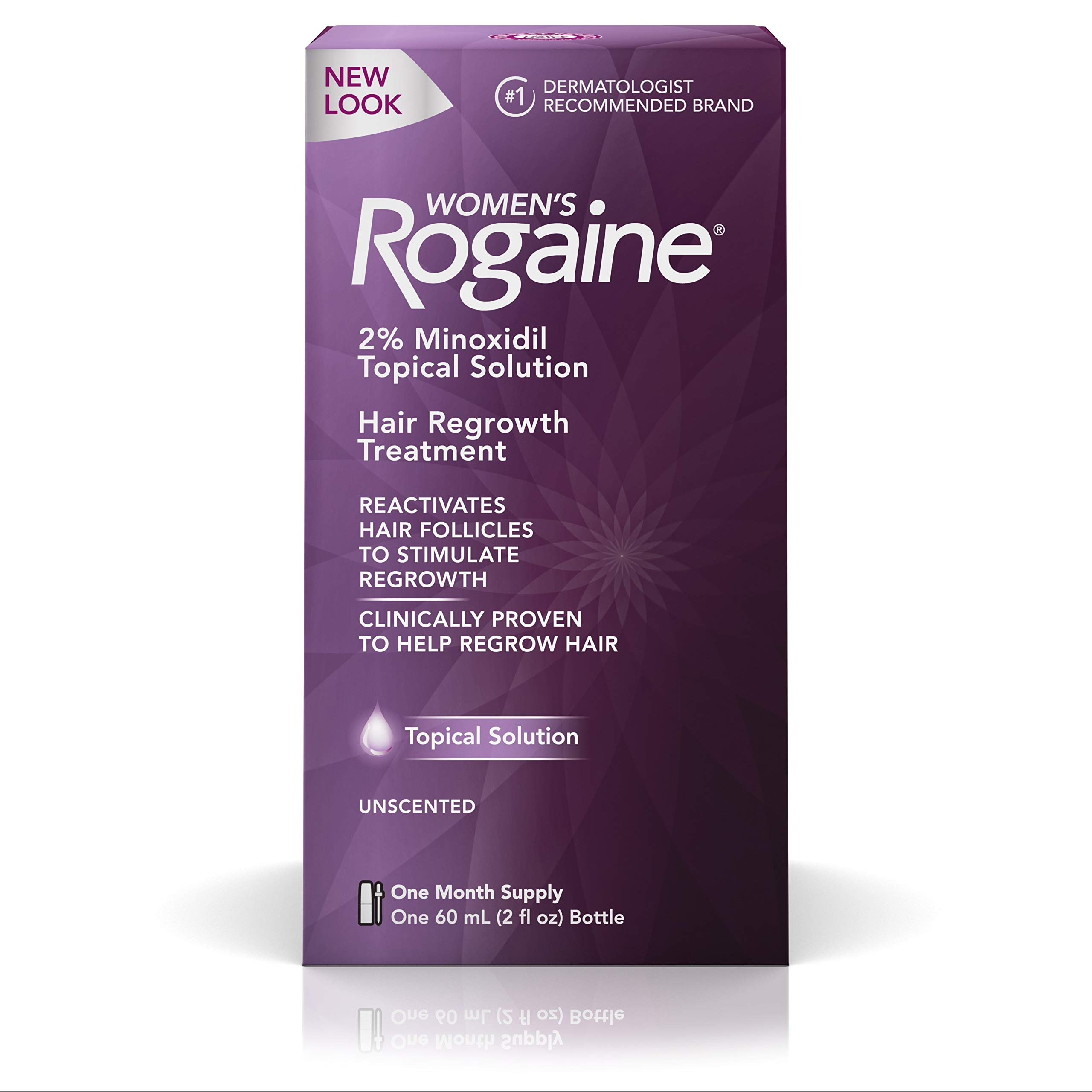 Women's Rogaine 2% Minoxidil Topical Solution for Hair Thinning and Loss, Topical Treatment for Women's Hair Regrowth, 1-Month Supply by Rogaine