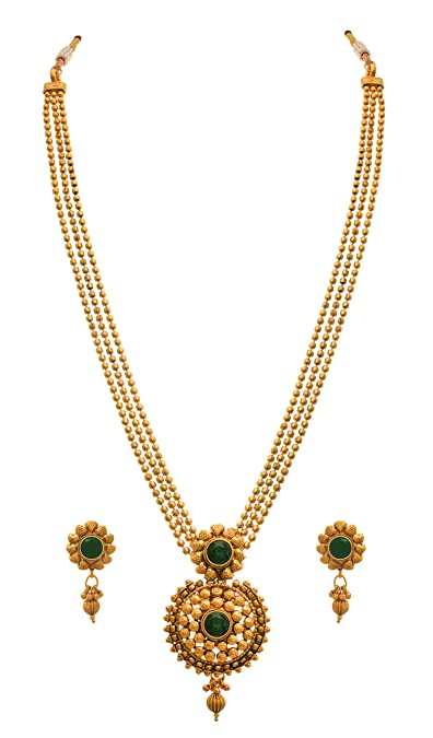 7eda306671 JFL - Jewellery for Less 1g Gold Plated Stones Designer Necklace Set for  Women