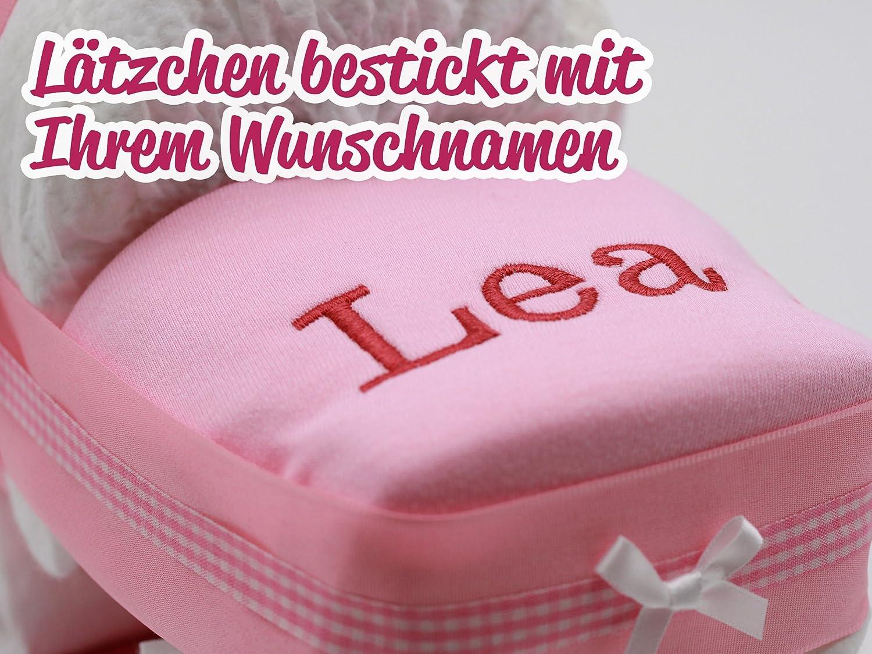 mit besticktem personalisierten L/ätzchen mit Name Windeltorte//Windelwagen rosa f/ür M/ädchen Gl/ückwunschkarte