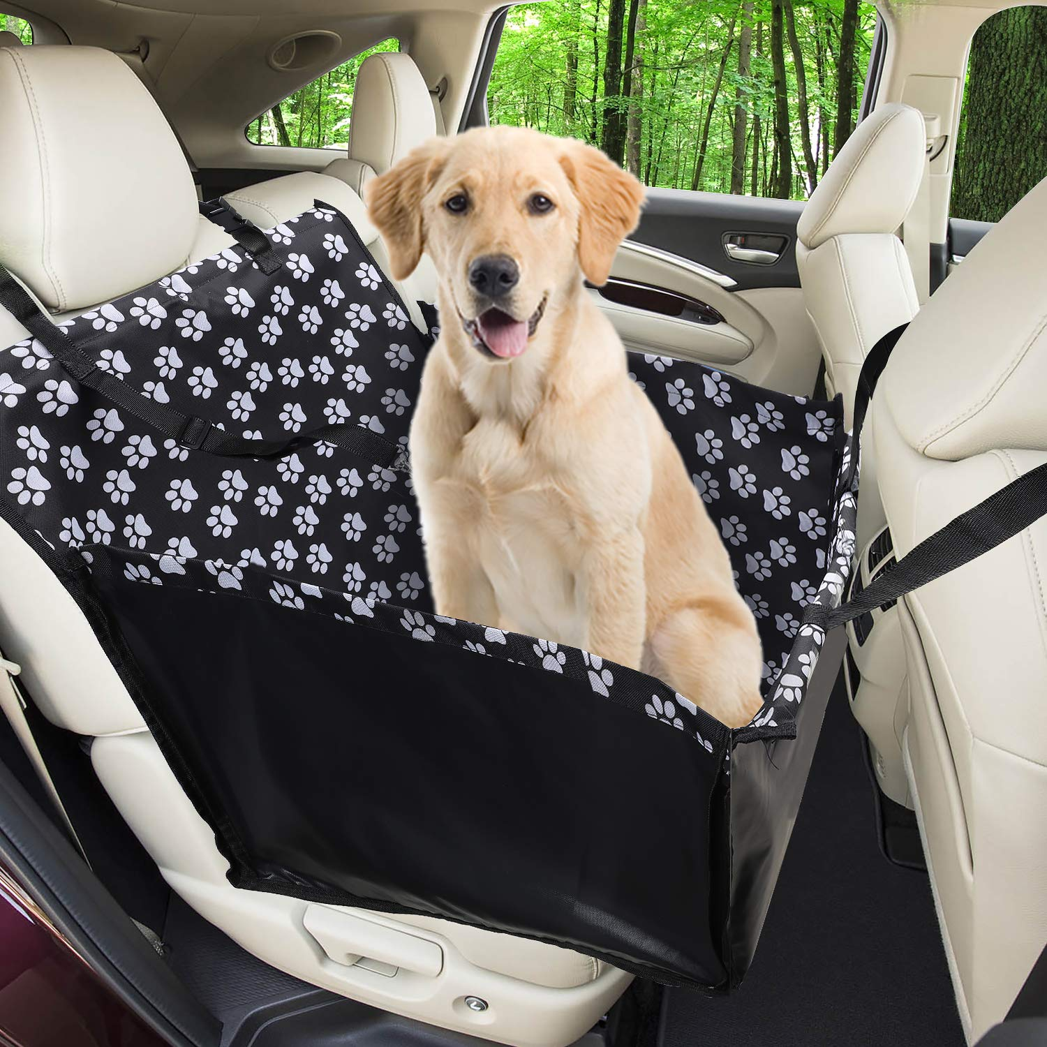Funpet Car Booster for Dogs,Waterproof Dog Seat Covers Pet Car Blanket with Dog Seat Belt, Travel Seat predector Dog Basket for Back Seat Front Seat Dog Seat Cover (68 x 57 x 33 CM)