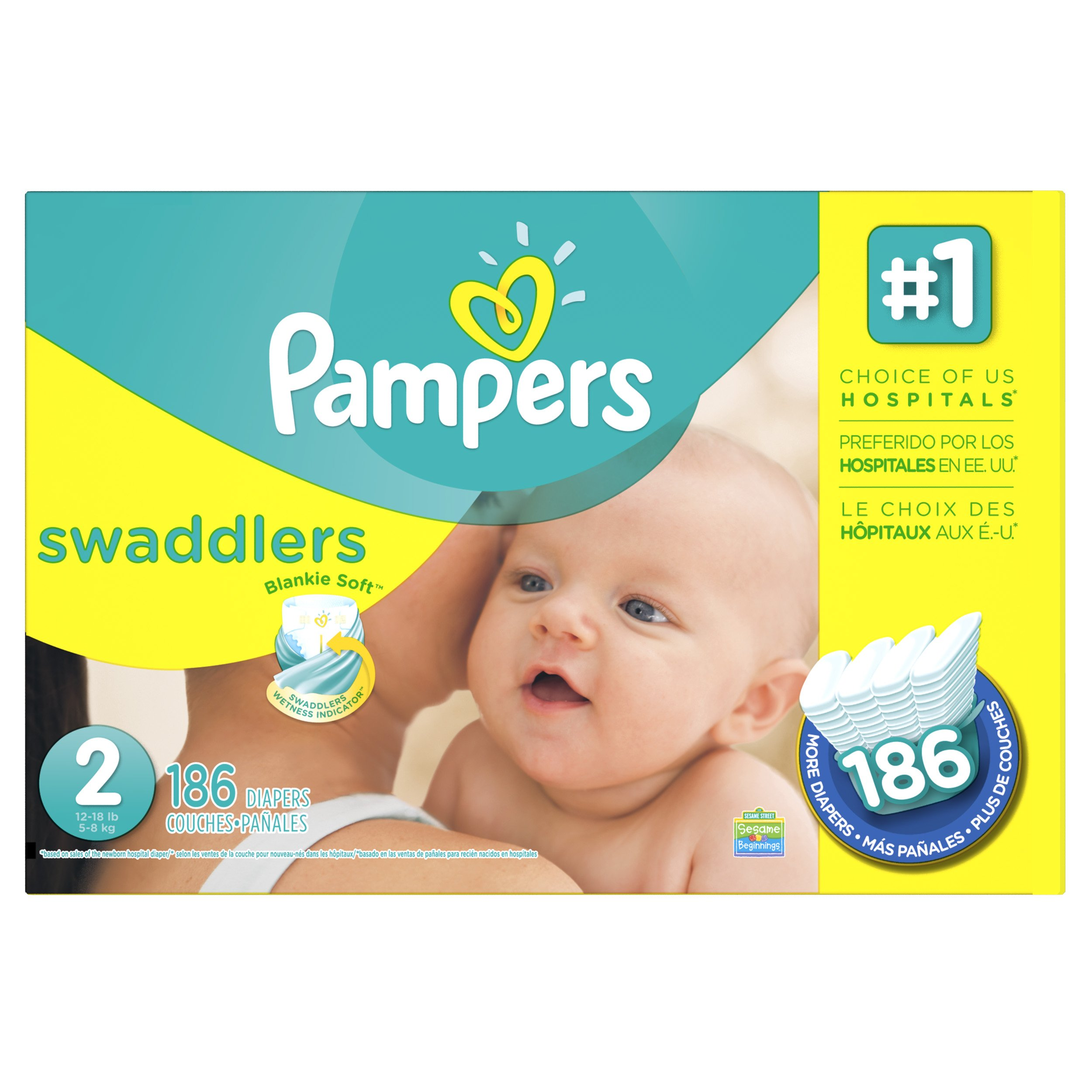 Pampers Swaddlers Diapers Size 2 186 Count (Packaging May Vary) by Pampers