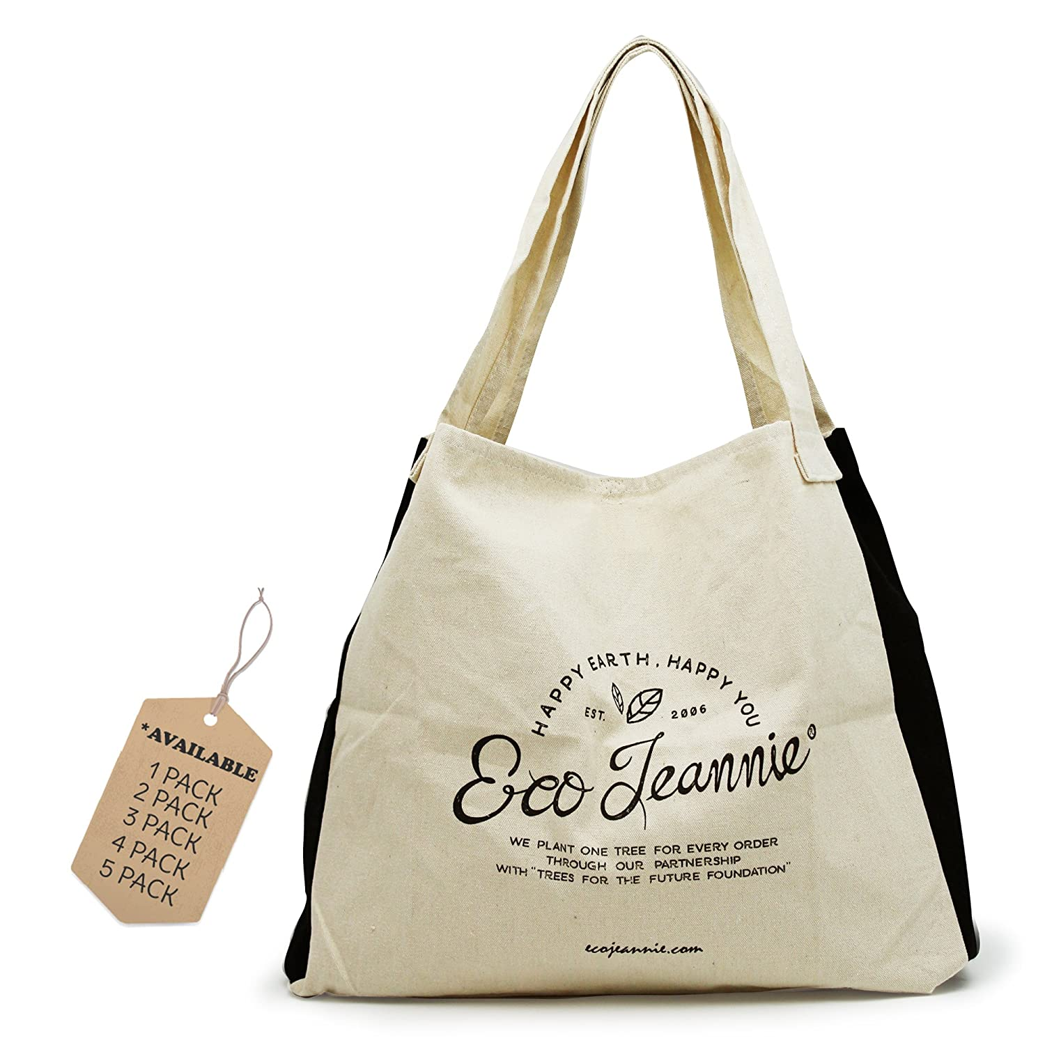 EcoJeannie (1 Bag) 100% Cotton Canvas Reusable Tote Bag w/ Inner Pocket, Gusset and Closure Strips, Multi Use bag, Shoulder Bag, Travel Tote, Picnic Bag, 24-7 Bag, School Bag Arrow Industries Inc. LC0001