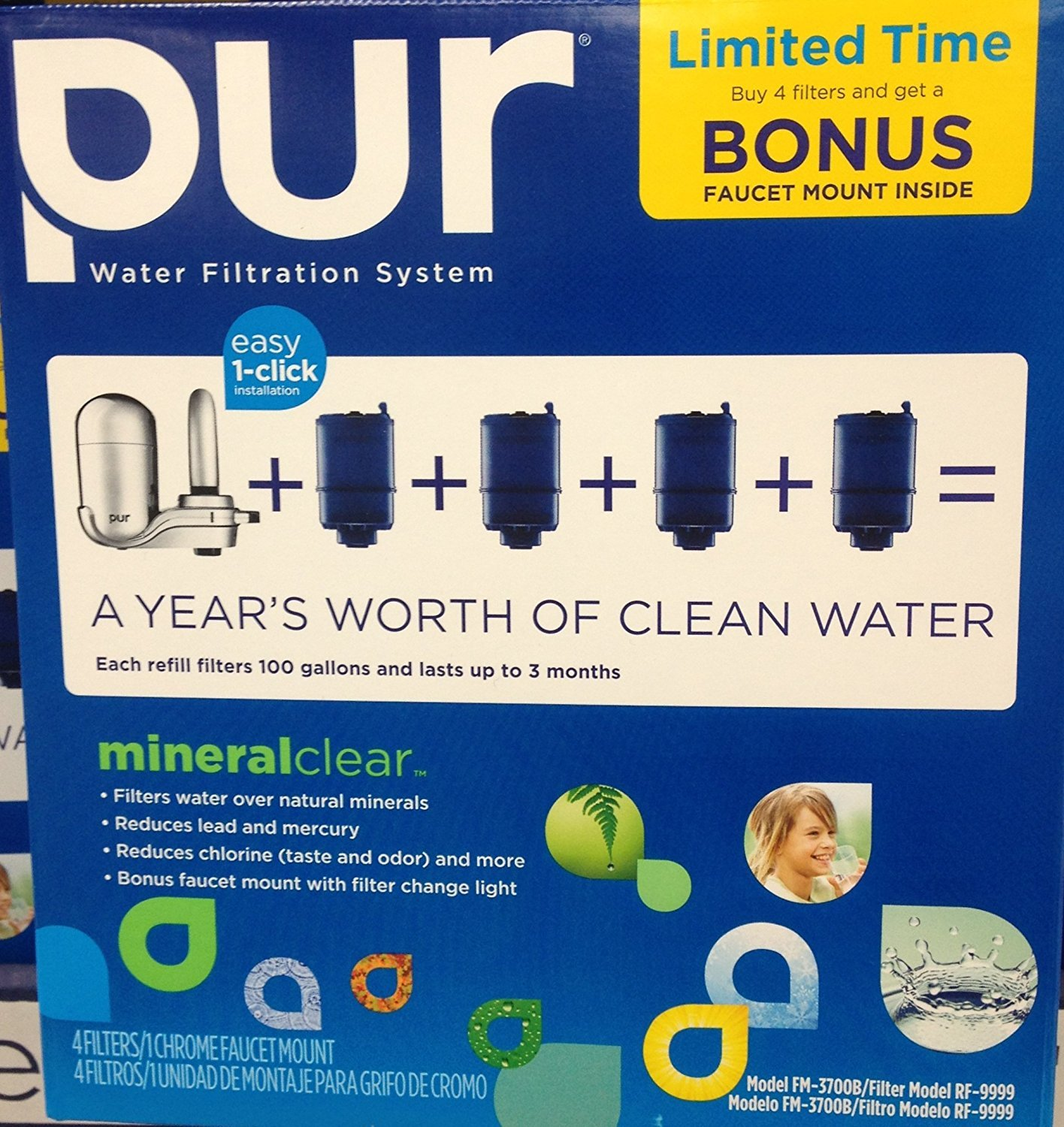 PUR 3-Stage Vertical Faucet Mount in Chrome FM-3700B + 4 Replacement Filters BONUS PACK RM-3700B