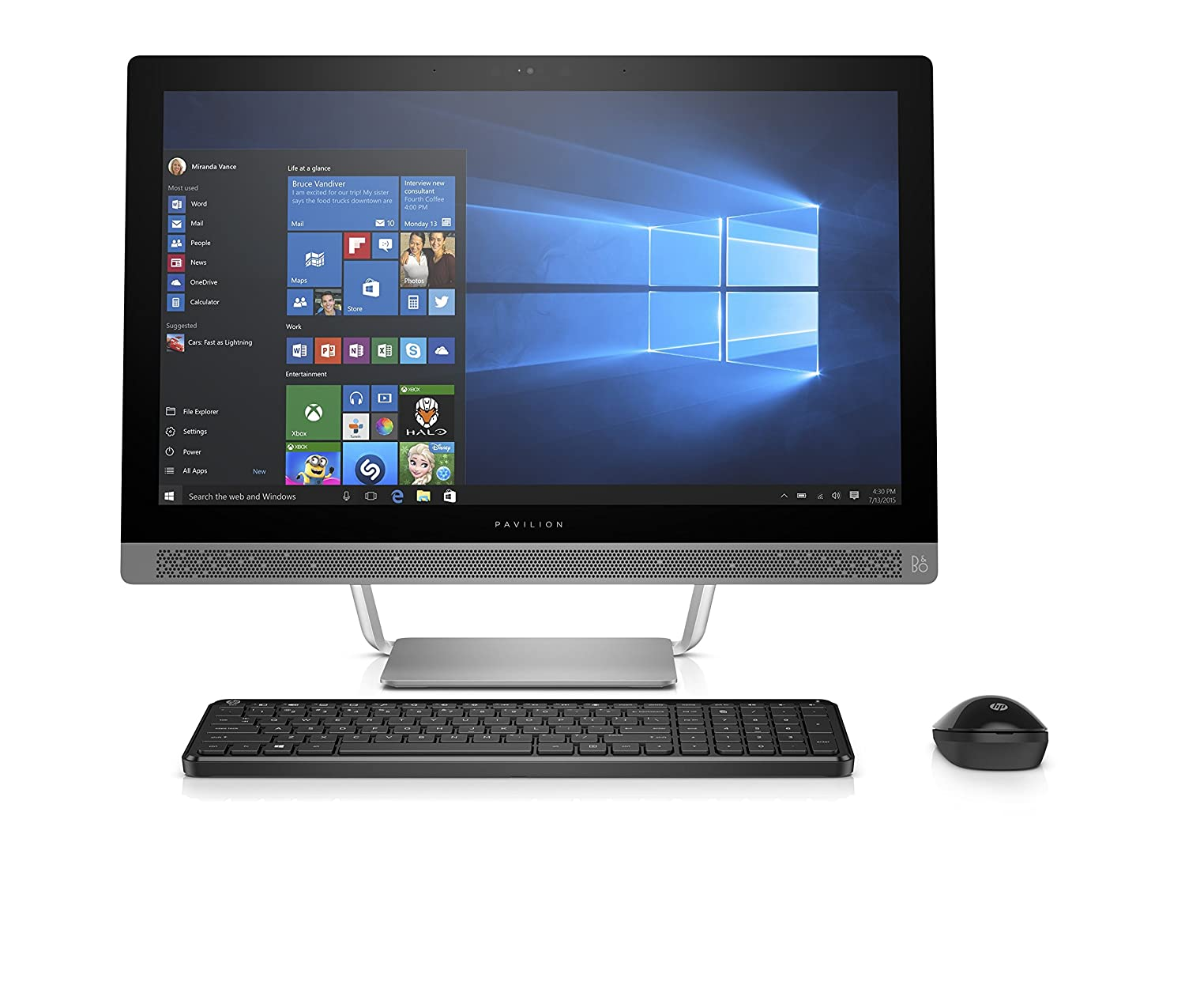 """Amazon.com: HP Pavilion 24-b010 23.8"""" All-In-One Desktop (AMD A9-9410, 8GB  RAM, 1TB HDD, Windows 10 Home): Computers & Accessories"""