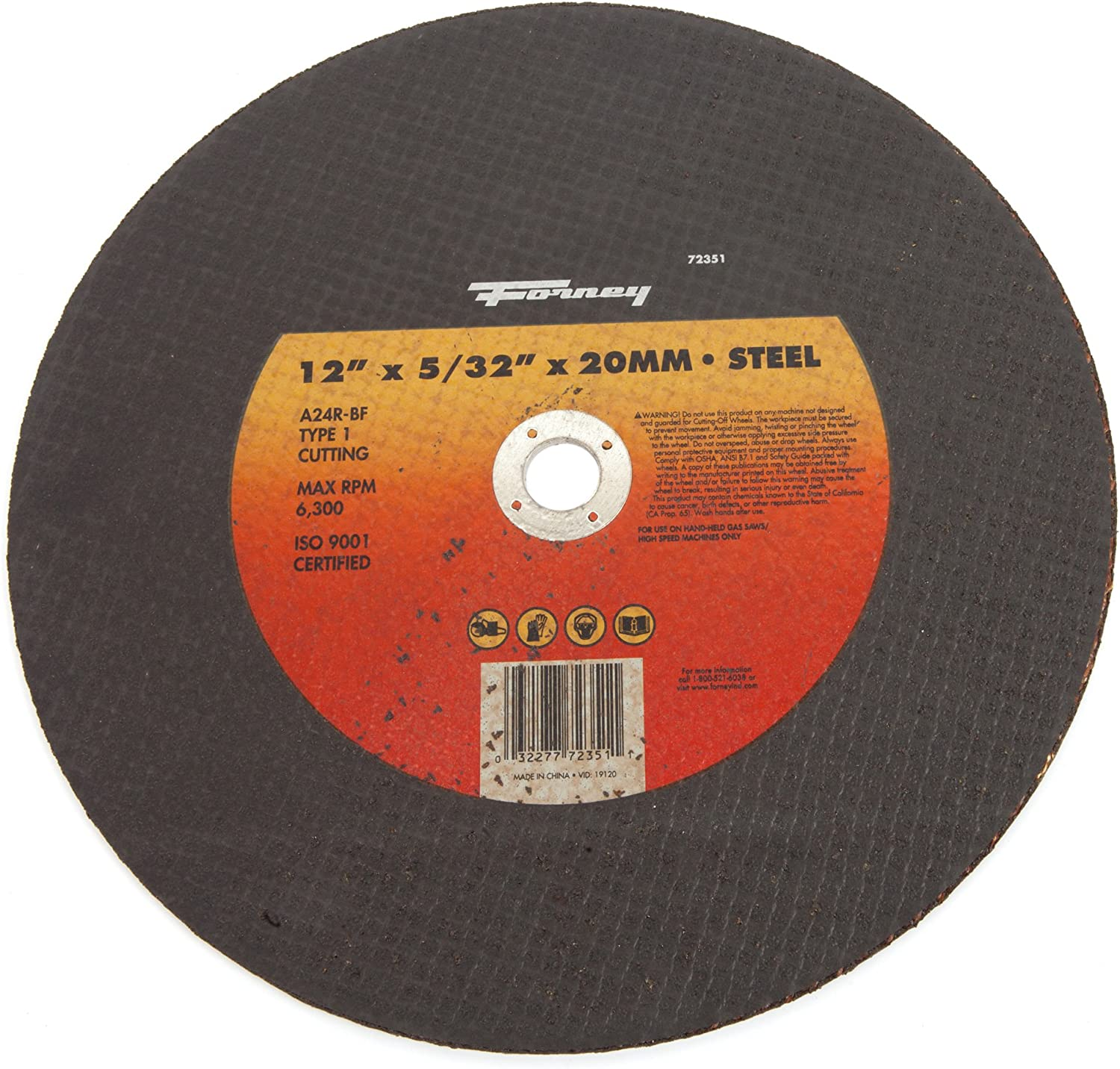 12-Inch-by-5//32-Inch A24R-BF Type 1 High Speed Metal with 20-Millimeter Arbor Forney 72351 Cut-off Wheel
