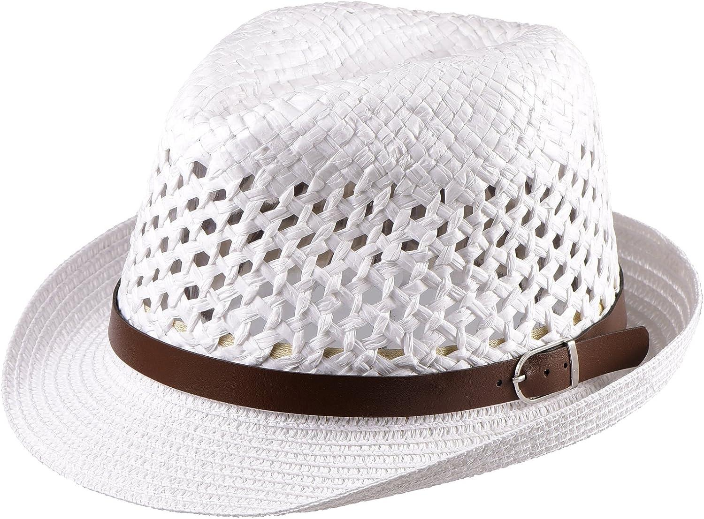 Miuno/® Unisex Trilby Hut Herren Damen Partyhut Stroh Fedora Hut