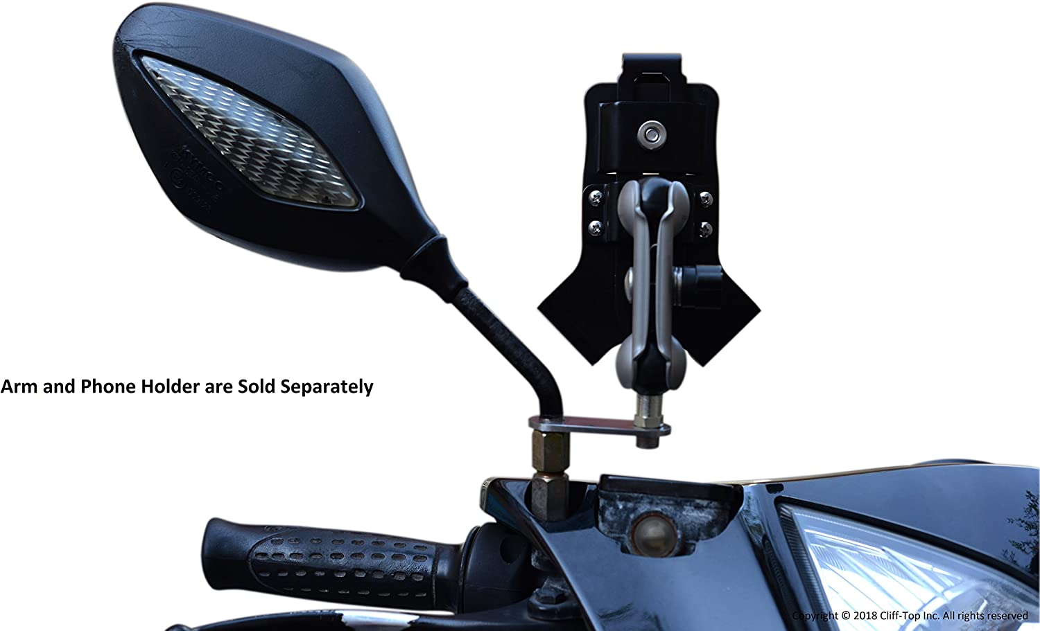 Black Cliff-Top Motorcycle Rear View Mirror Mounting Base with 10mm Hole and 1-Inch Ball