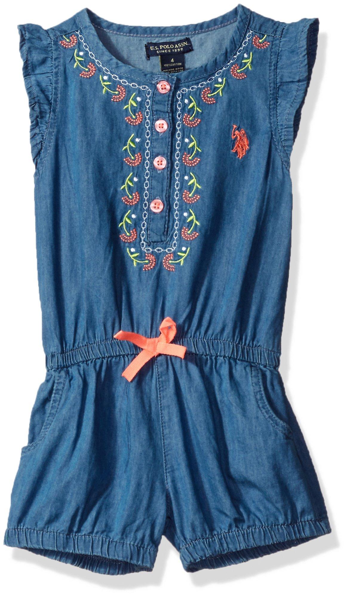 U.S. Polo Assn. Toddler Girls' Flutter Sleeve Henley Denim Romper, Light Wash, 3T