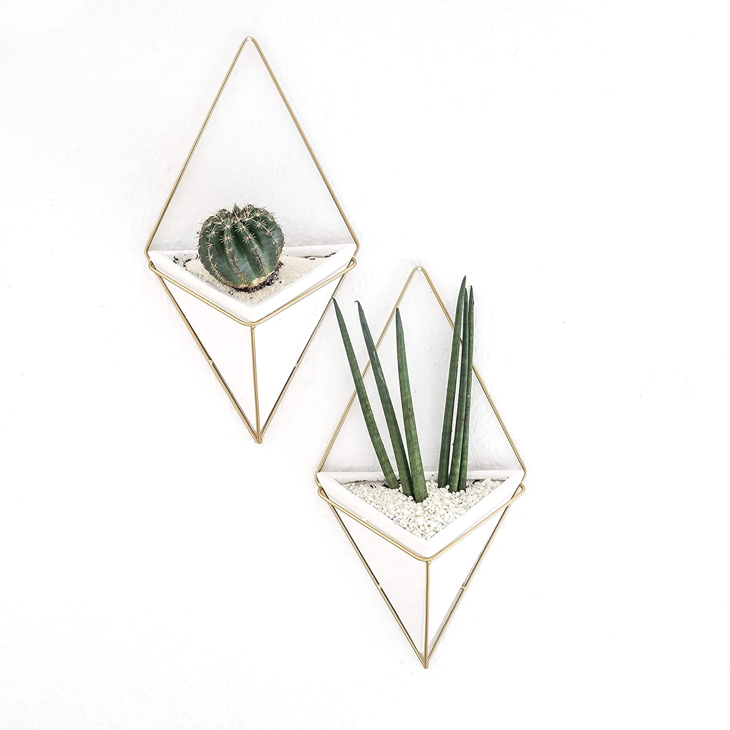 Set of 2 Geometric Hanging Large Succulent Wall Planters Pot, 7 inch White Ceramic with Gold Metal Triangle, Modern Cactus Bathroom Decor, Gallery Decorations, Boho Chic Flower Pots, Vase, Container