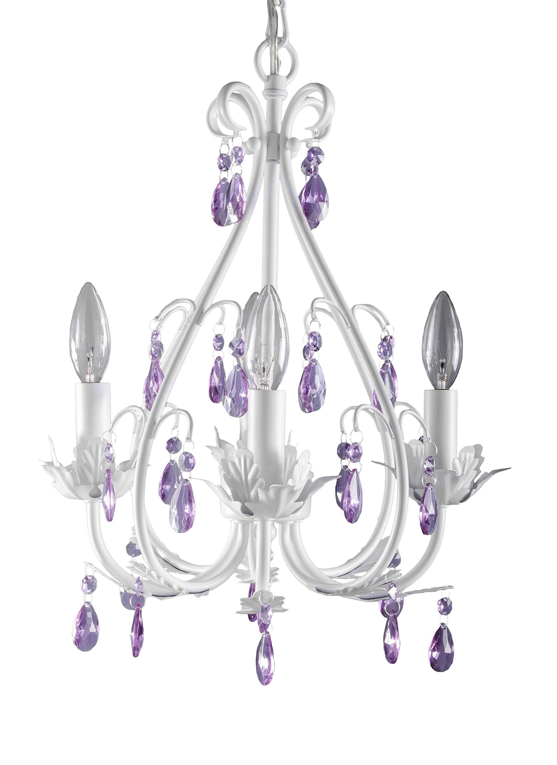 Firefly Kids Lighting - Sophia 4 Arm Crystal Chandelier, Purple Crystals, 4-Light E12 60W each (not included), Hand-Wrought Iron, Authentic Crystals, Dimmable
