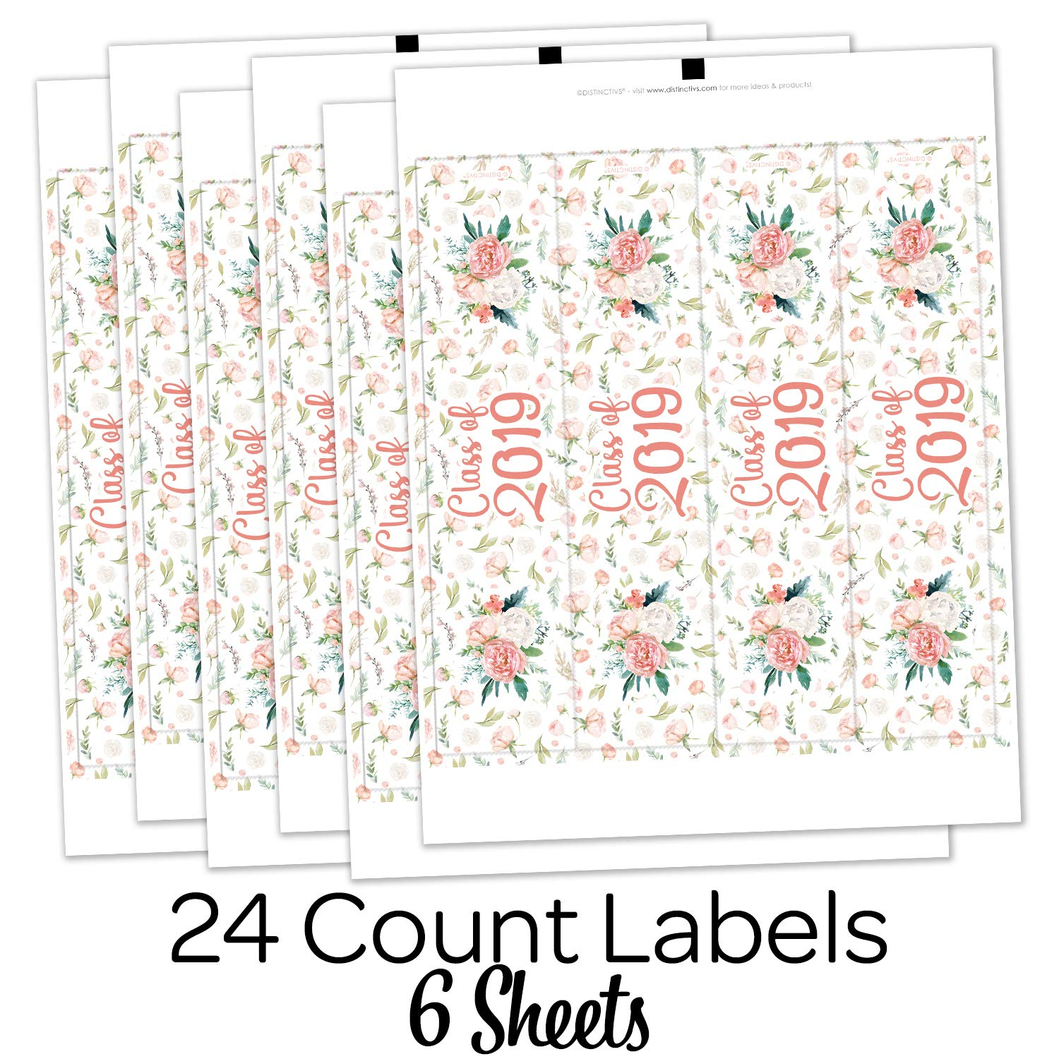 Pink Floral Class of 2019 Graduation Water Bottle Labels 24 Stickers