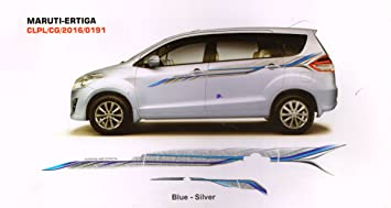 Quara Automaze Car Side Full Body Sticker GraphicsBlue Silver For - Graphics for the side of a car