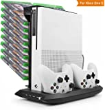 Xbox One S Cooling Vertical Stand, LeSB Dual Controller Charging Station Stand and Game Holder with Cooling Fans and 4 USB Ports For Microsoft Xbox One S