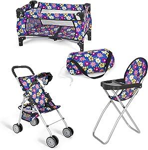 """Fash N Kolor 3 in 1 Flower Design Doll Set 1.Stroller 2.Crib 3.Hi Chair fits 18"""" Dolls"""