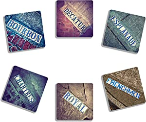 EXIT82ART - Rubber Drink Coasters (Set of 6). New Orleans French Quarter Iconic Tile Street Signs. Absorbent. Dishwasher Safe.