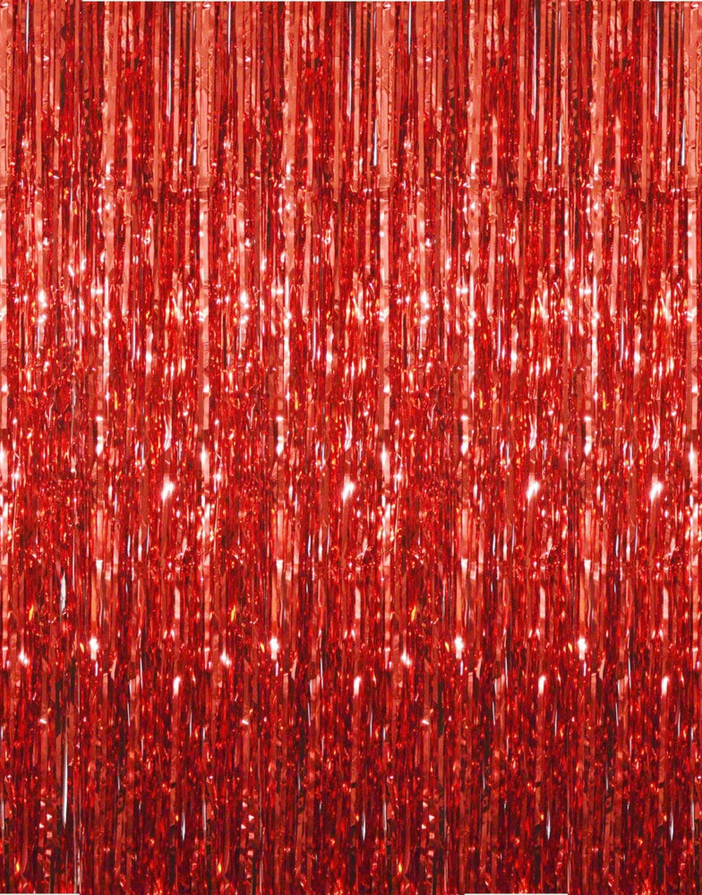 GOER 3.2 ft x 9.8 ft Metallic Tinsel Foil Fringe Curtains for Party Photo Backdrop Wedding Decor (1 Pack, Red)