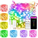 33Ft Smart Bluetooth WiFi Led Fairy String Lights Work with Alexa Google Home Remote App Control Flowing Smart Lighting Effec