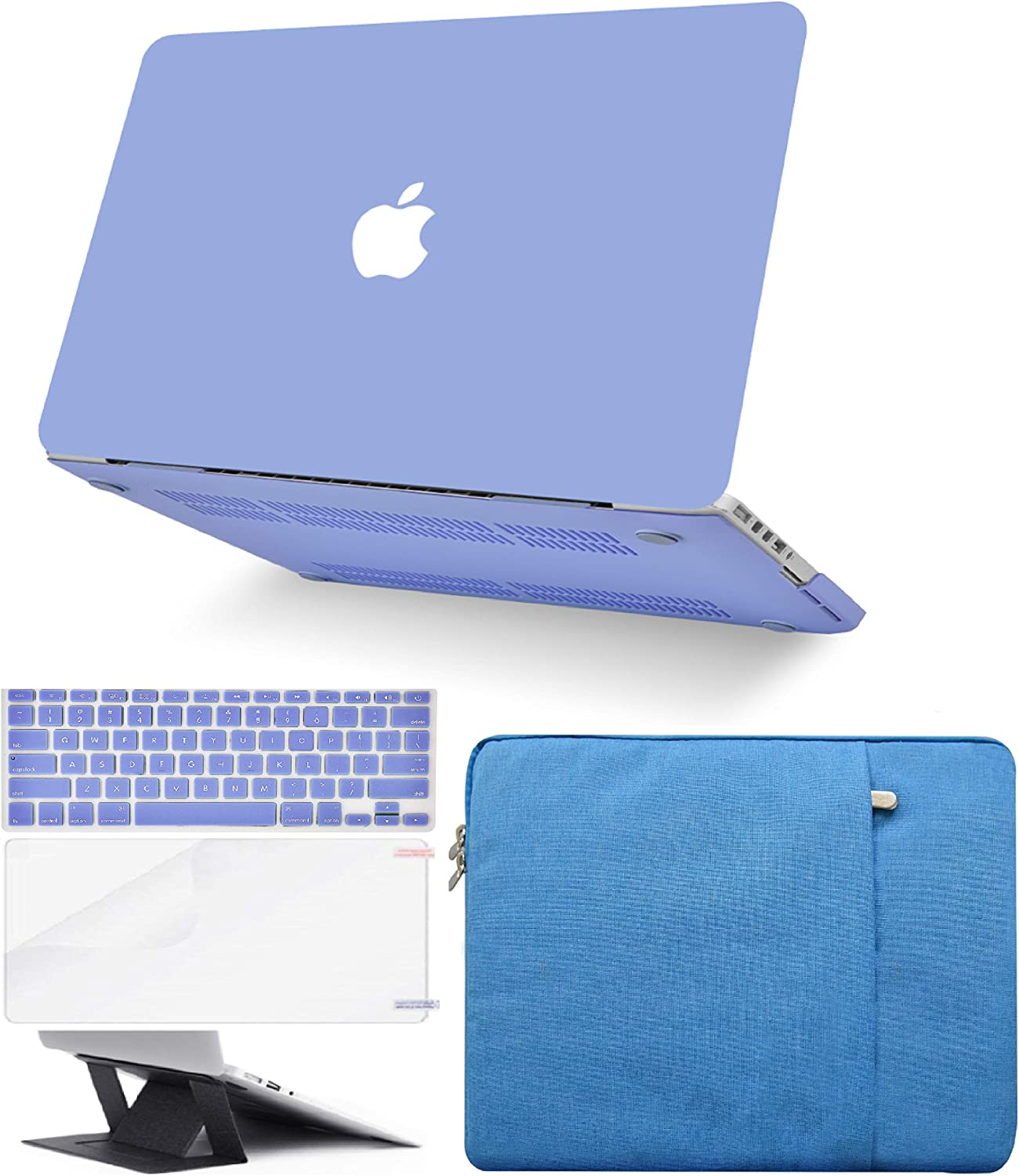 """KECC Laptop Case for MacBook Air 13"""" Retina (2020/2019/2018, Touch ID) w/Keyboard Cover + Sleeve + Screen Protector + Laptop Stand (5 in 1 Bundle) Plastic Hard Shell Case A1932 (Pale Blue)"""