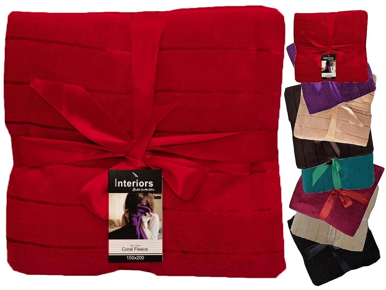 Coral Fleece Blanket Double Throws Satin Stripe Sofa Bed Large Luxury Soft Warm (Black)