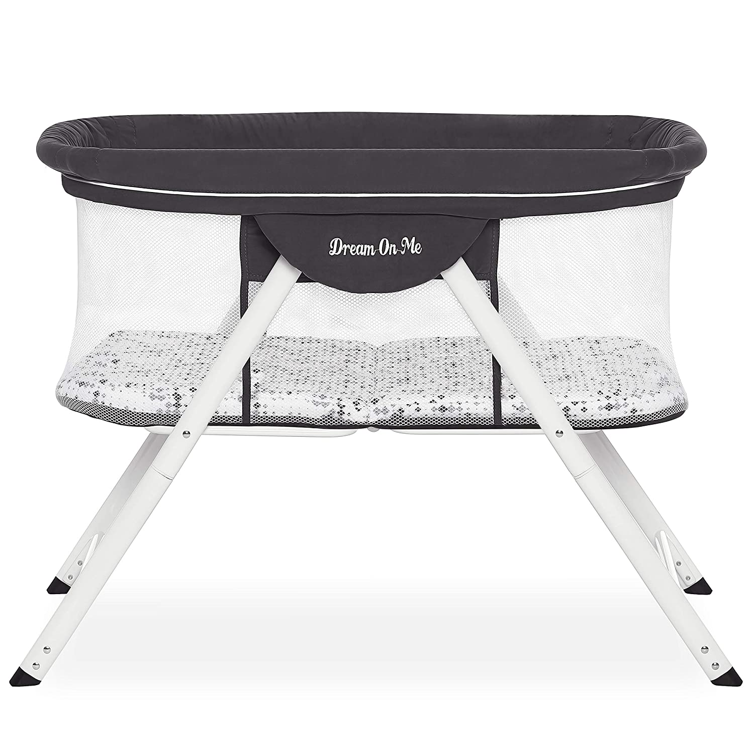 Dream On Me Poppy Traveler Portable Bassinet in Dark Grey