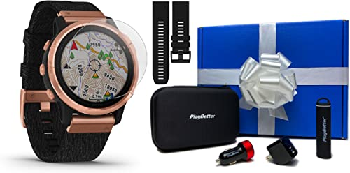 Garmin Fenix 6S Sapphire Rose Gold with Heathered Nylon Black Band Gift Box Bundle HD Screen Protectors, Extra Band, Portable Charger, Adapters Case Multisport Fitness Watch