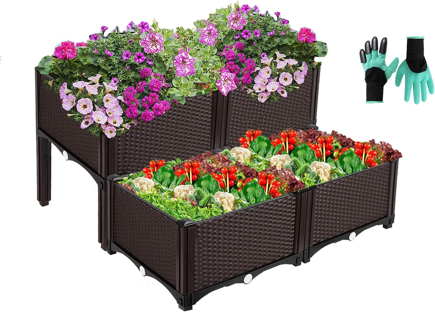 Set of 4 Plastic Raised Garden Bed Kit, Self Watering Planters Box with Free Gloves for Herbs Vegetables Flowers Strawberry Grow, Elevated Planting Container with Legs for Indoor & Outdoor Use, Brown