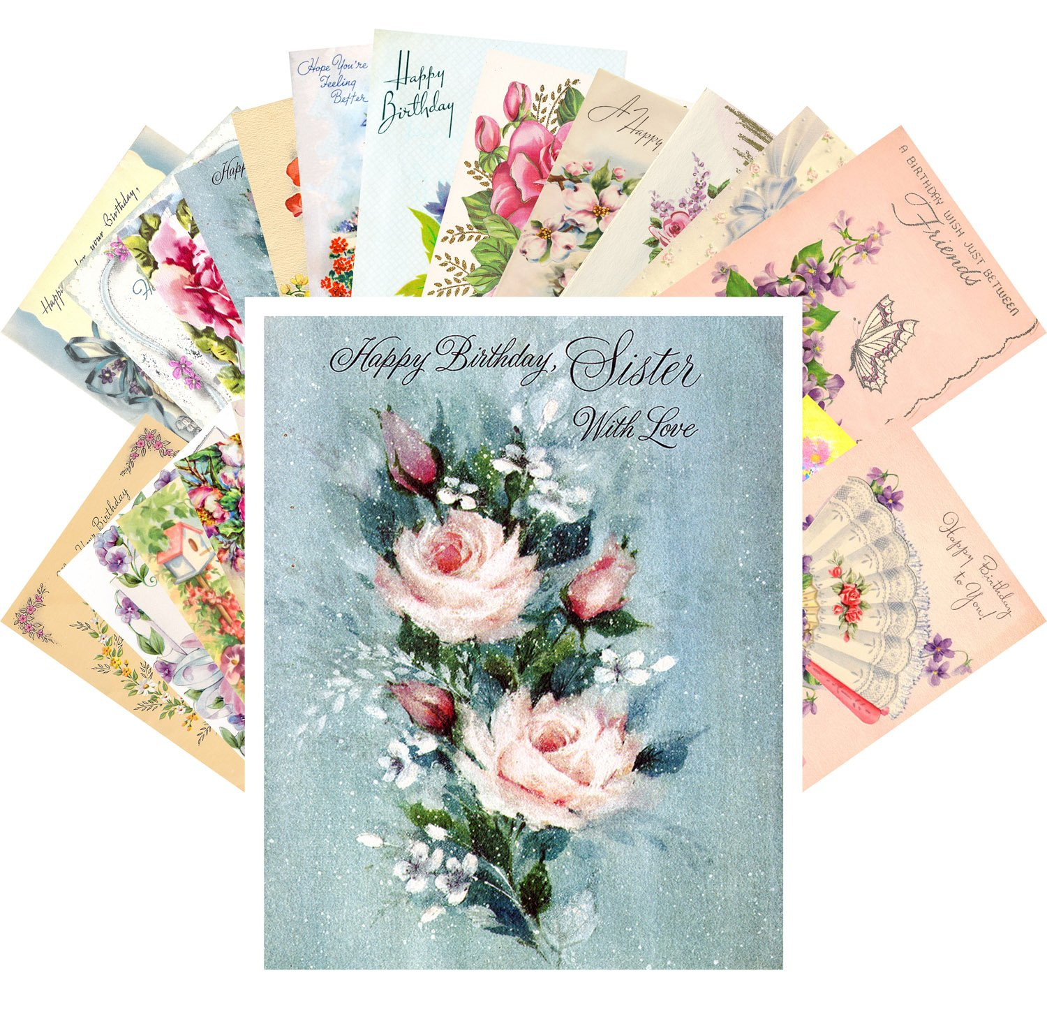 Amazon Vintage Greeting Cards Happy Birthday 24 Pcs Flowers Roses REPRINT Postcard Pack Office Products