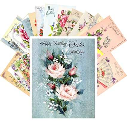 Amazon Vintage Greeting Cards Happy Birthday 24 Pcs Flowers