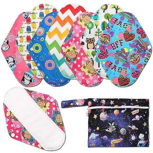 Toallas sanitarias reutilizables (7 en 1, 25,4 cm), Phogary 100% algodón Panty Liners con bolsa húmeda, Heavy Flow Night lavable paño menstrual toallas ...