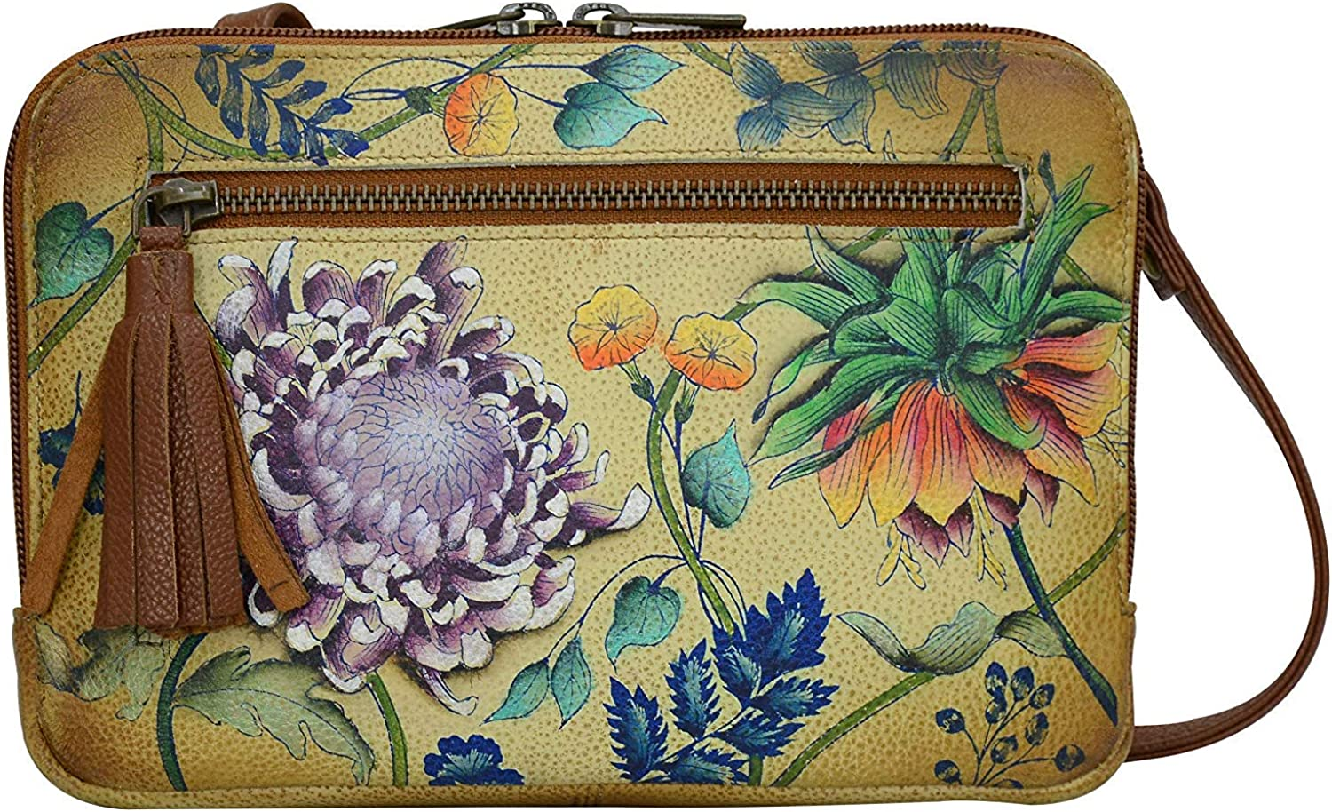 Anuschka Women's Genuine Leather All Round Zip Crossbody/Belt Bag - Hand Painted Exterior