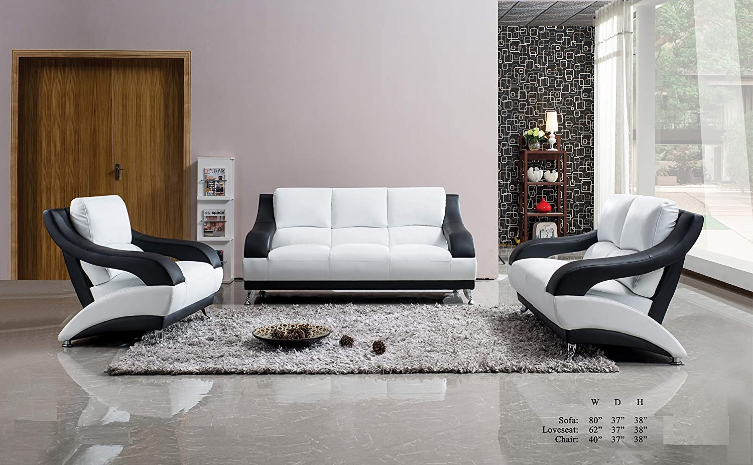 Charmant Amazon.com: Esofastore Classic Unique Modern Vance Bonded Leather  White/Black 3pc Sofa Set Sofa Loveseat Chair Living Room Furniture: Kitchen  U0026 Dining