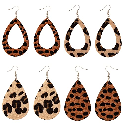 Lightweight Handmade Leaf Leather Earrings DIY Leopard Print Leather Earrings Teardrop Dangle for Women Girls