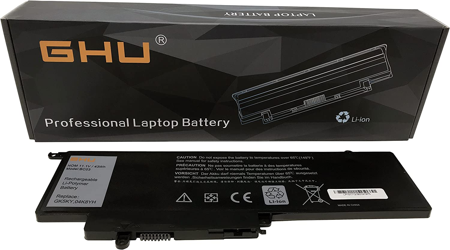 "GHU Battery 43 WH 11.1V Replacement for GK5KY 92NCT 04K8YH 0WF28 4K8YH 092NCT 92nct Compatible for Dell Inspiron 13"" 7347 7348 7352, Dell Inspiron 11"" 3147 3148 3152"